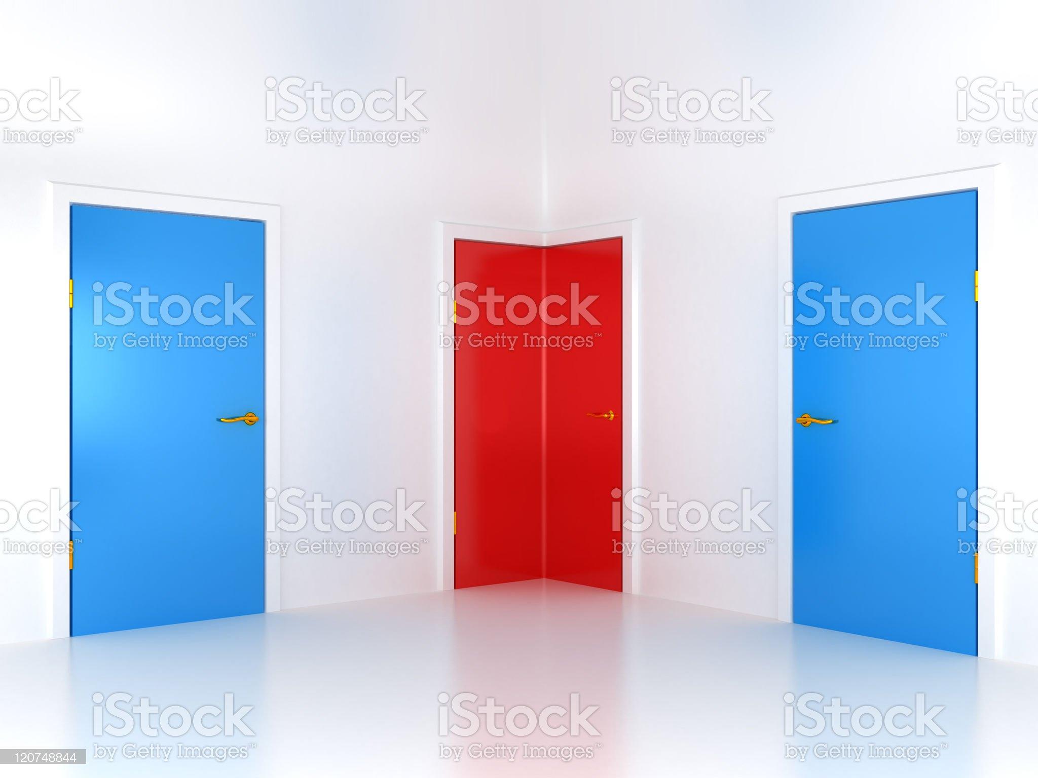 Right choice: conceptual corner door royalty-free stock photo