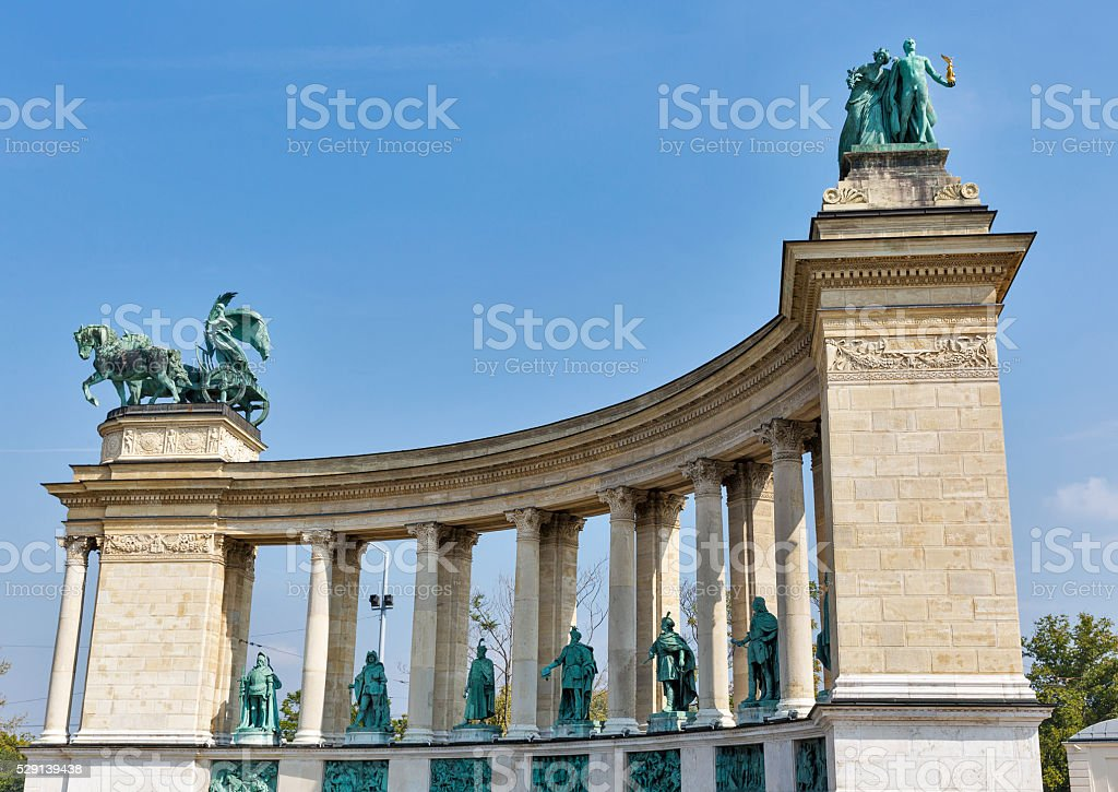 Right colonnade of Heroes Square monument in Budapest, Hungary. stock photo