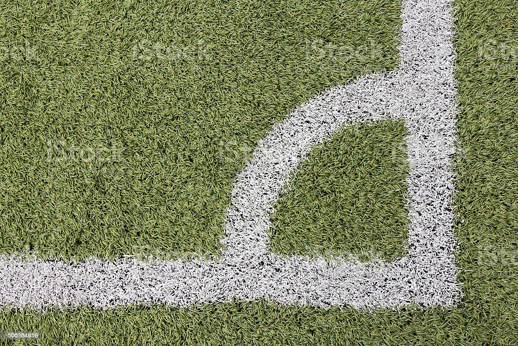 Right corner on soccer field stock photo