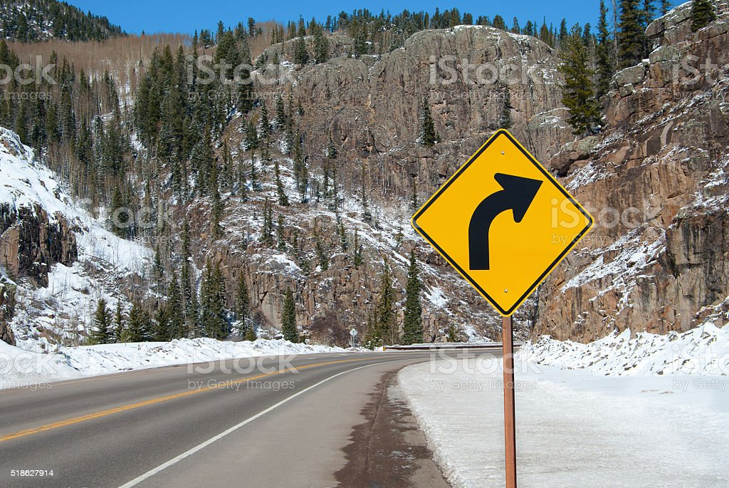 Right Curve Sign stock photo