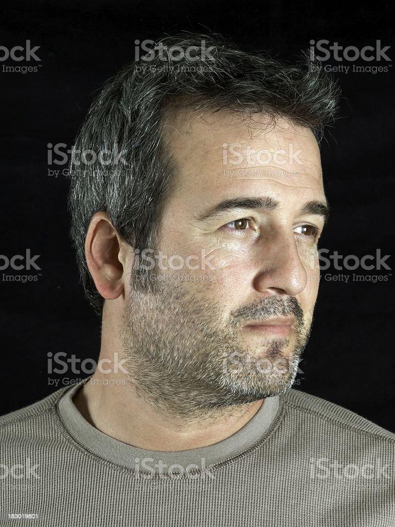 Right facing portrait of man stock photo