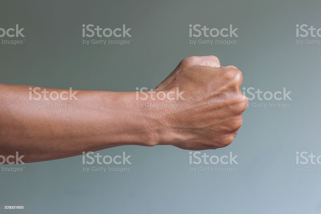 right fist ready to fight stock photo