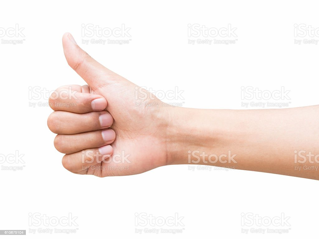 right hand a man show the good/like stock photo