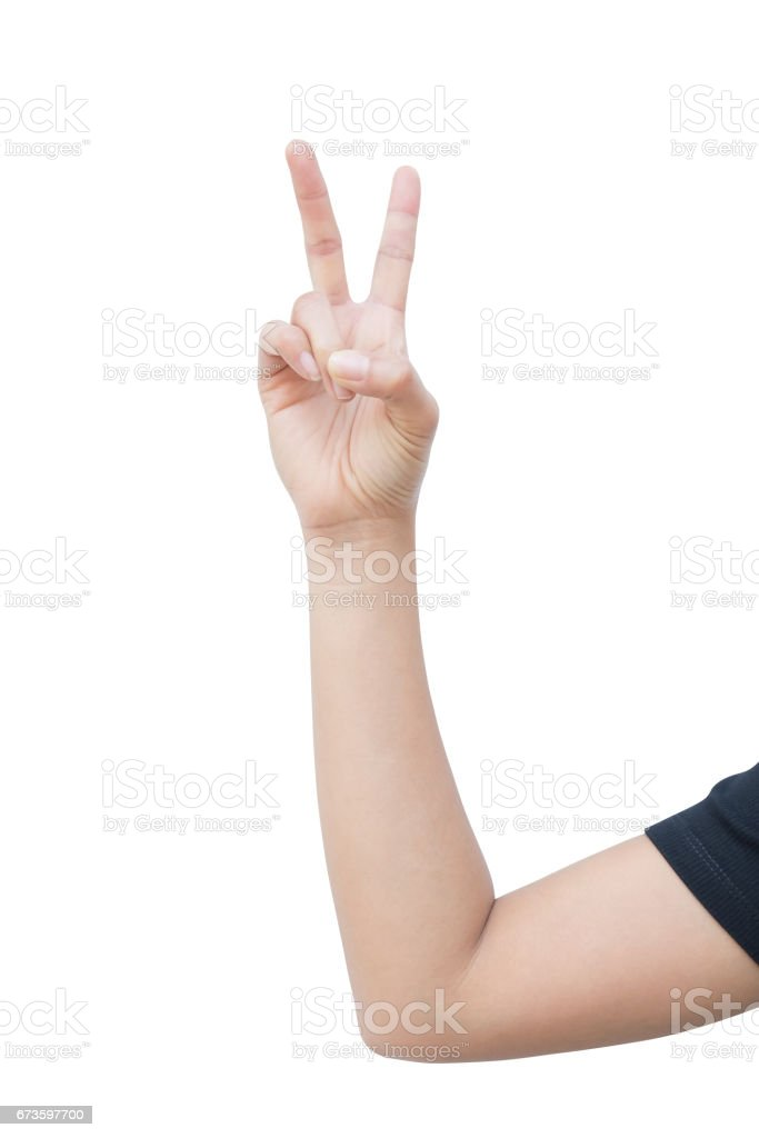 right hand a woman show the second, number two, fight, encouragement sign. isolated on white background stock photo