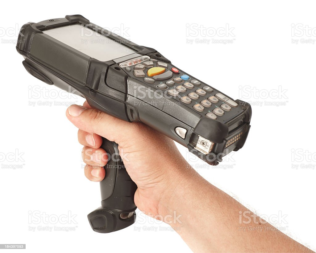 Right hand holding bar code scanner on white background stock photo