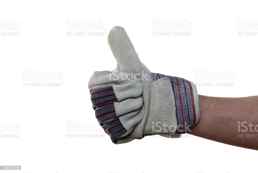 Right hand of construction worker with Thumbs Up royalty-free stock photo