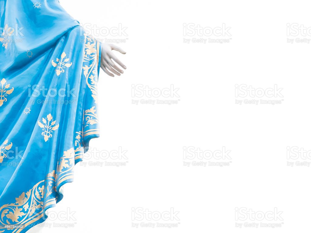 Right hand of Virgin Mary statue figure isolated stock photo