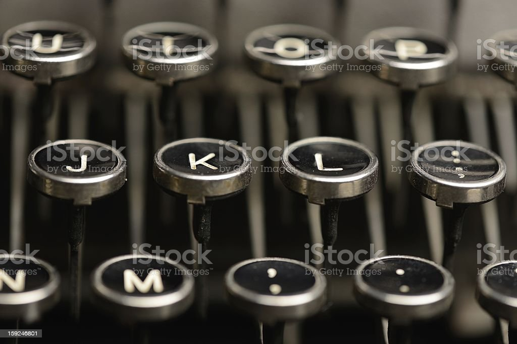 Right home row keys on an antique typewriter royalty-free stock photo