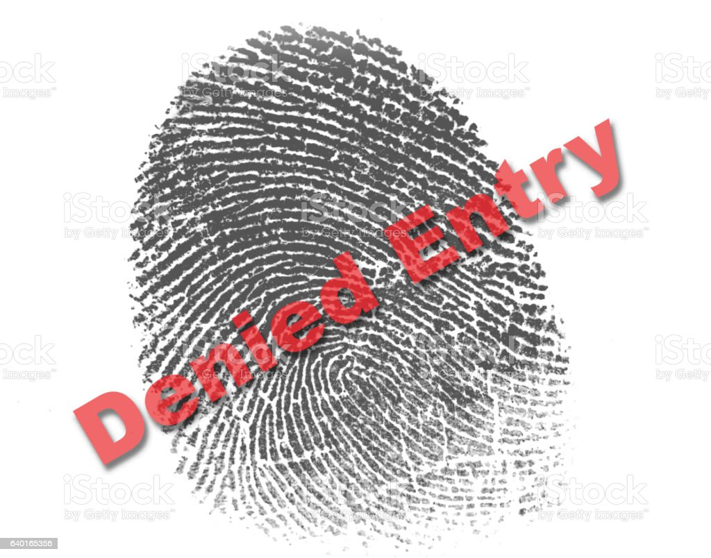 Right Index Fingerprint with the red word denied entry stock photo