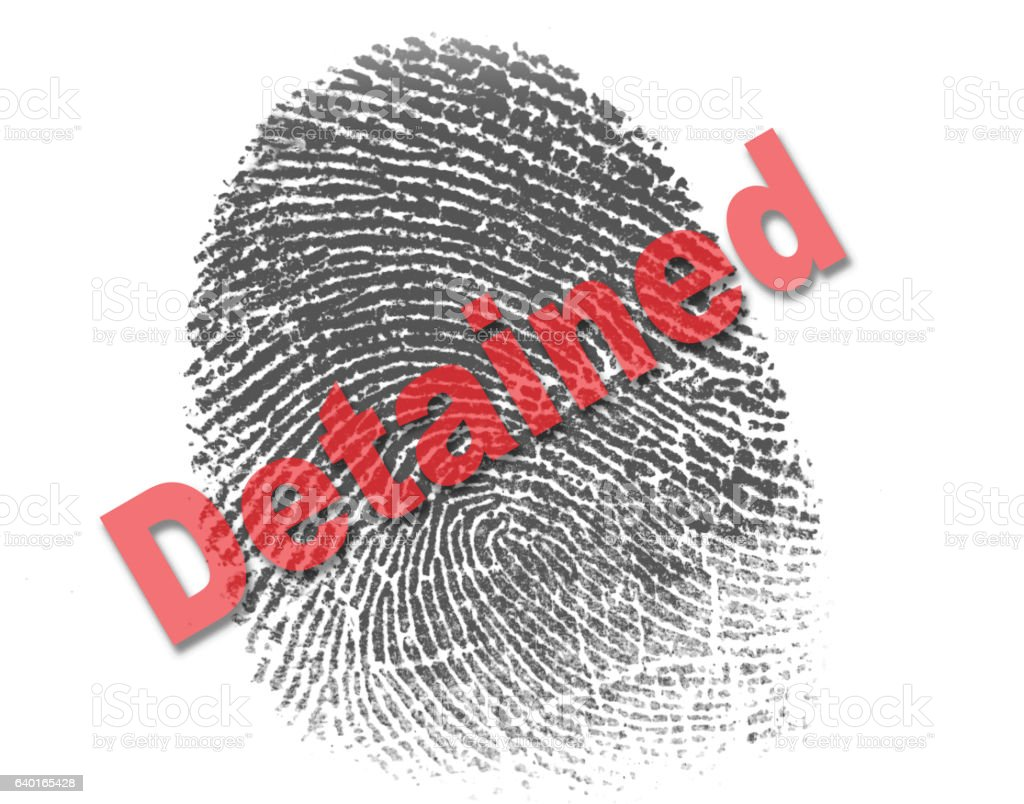 Right Index Fingerprint with the red word detained across it stock photo