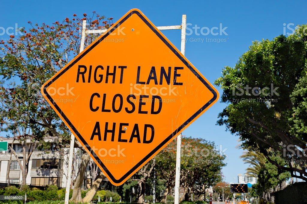 Right Lane Closed Ahead stock photo