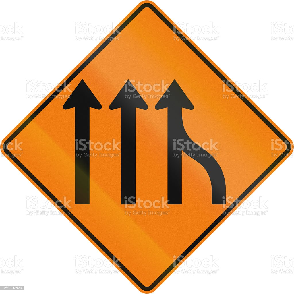 Right Lane Ends in Canada stock photo