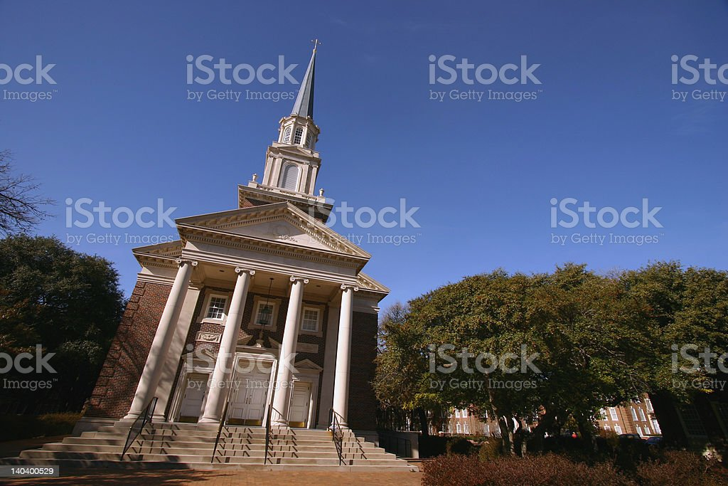 Right Leaning Church stock photo
