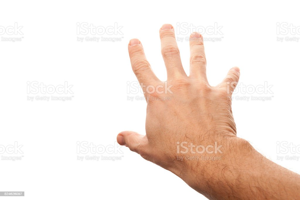 Right male hand trying to grab something stock photo