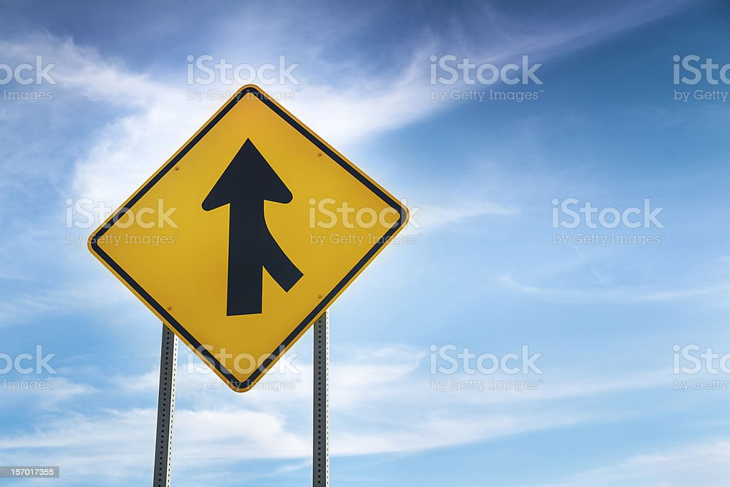 W4-1 Right Merge Sign stock photo
