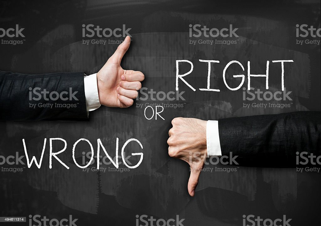 Right or wrong /Blackboard concept (Click for more) stock photo