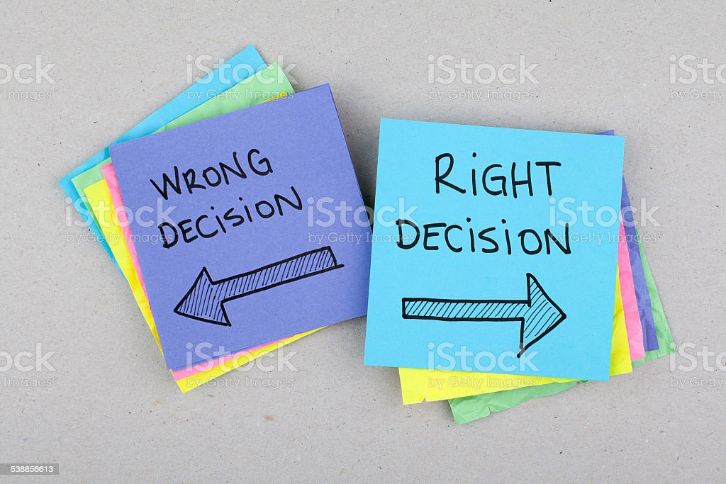 Right or Wrong Decisions stock photo