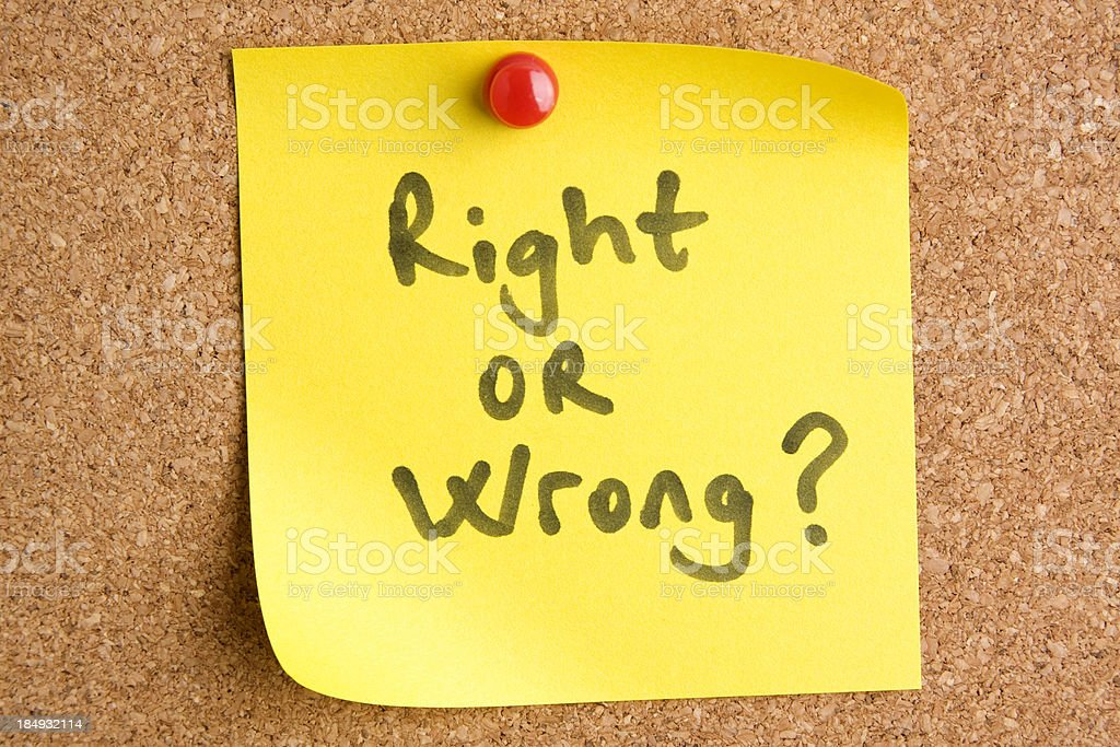 Right or wrong royalty-free stock photo