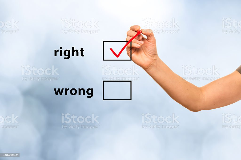 right or wrong stock photo