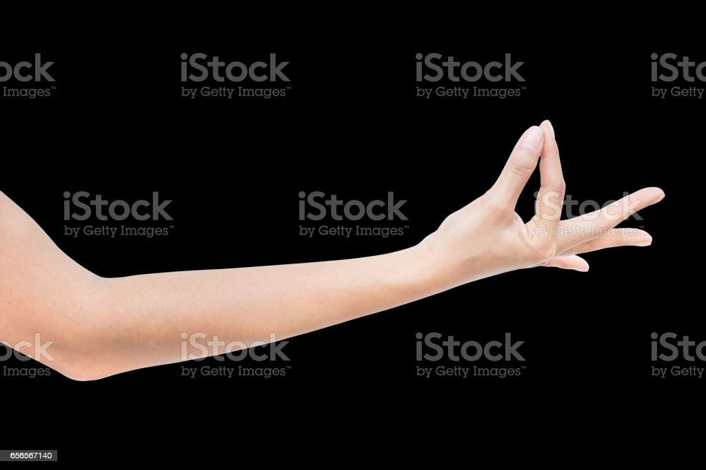 right side hand of a business woman, OK, Agree, Accept, Pleated sign, isolated on black background stock photo