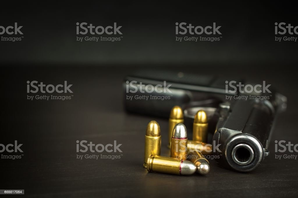 Right to bear arms. Arms control. Detail on the gun. stock photo