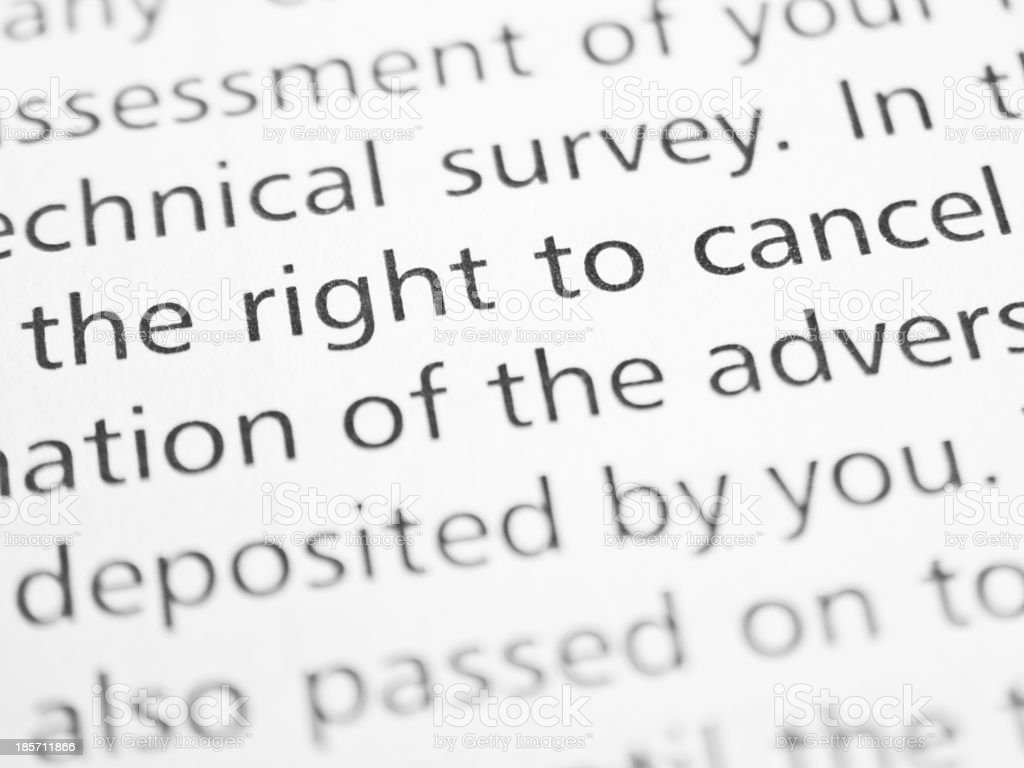 Right to cancel stock photo