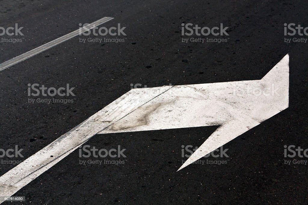 Right turn arrow on asphalt. stock photo