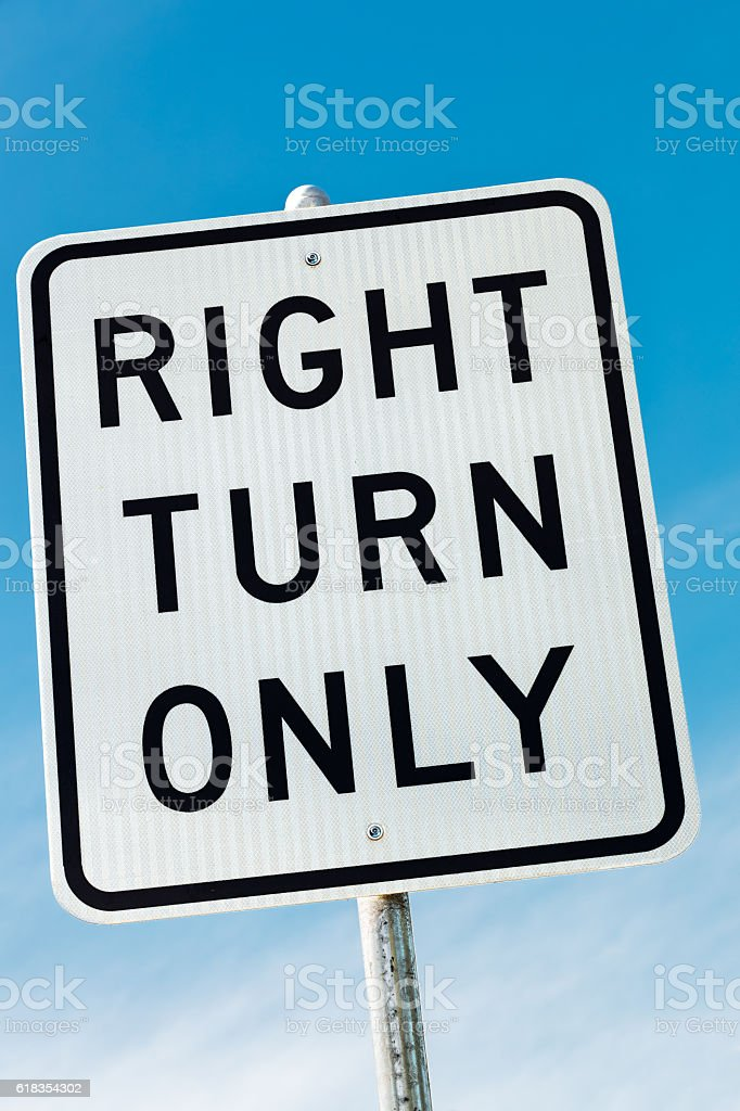 Right Turn Only road sign in California, USA stock photo