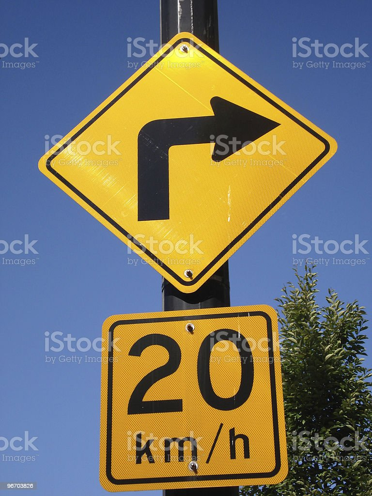 Right Turn Road Sign royalty-free stock photo