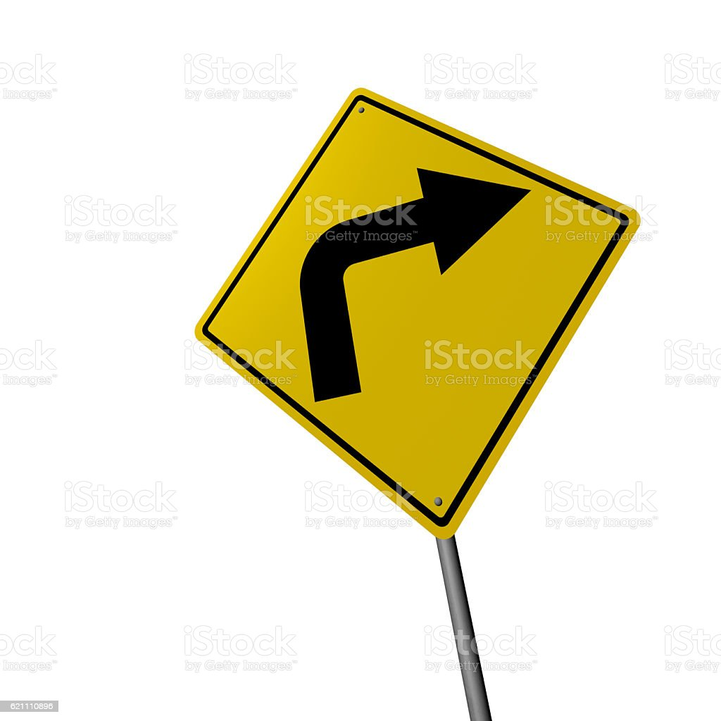 Right Turn - Road Warning Sign stock photo