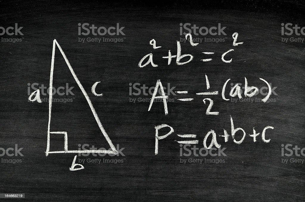 right-angled triangle area and perimeter formula royalty-free stock photo