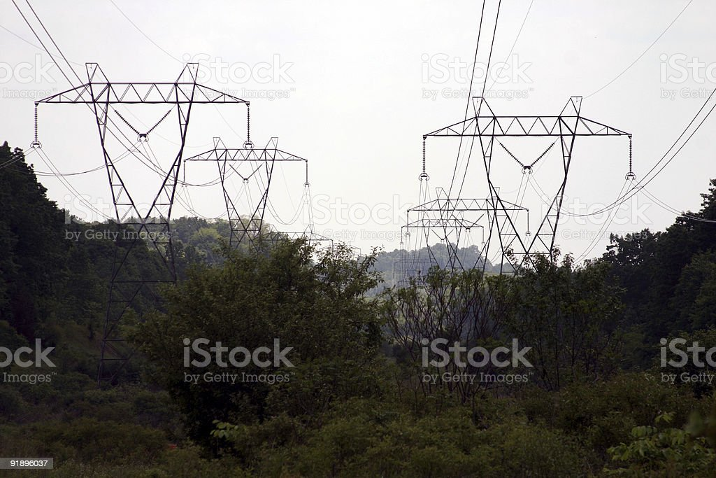 Right-Of-Way Power Lines royalty-free stock photo