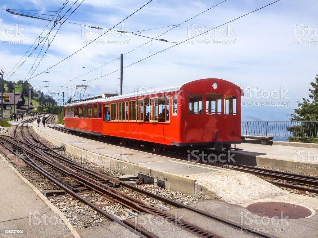 Rigi Railways, the highest standard gauge railway in Europe: Standard gauge rack railways, the Vitznau–Rigi Bahn (VRB). stock photo