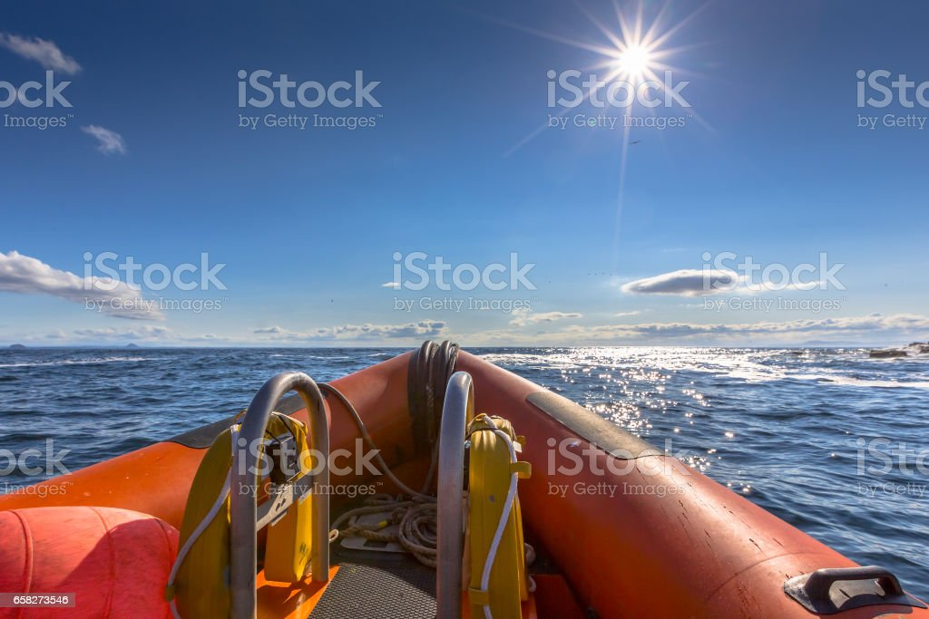 Rigid inflatable boat stock photo