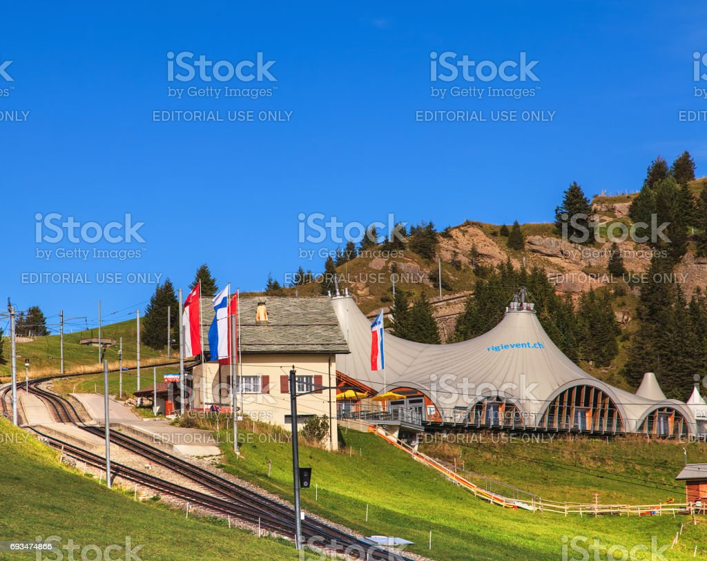 Rigi-Staffel railroad station on Mt. Rigi in Switzerland stock photo