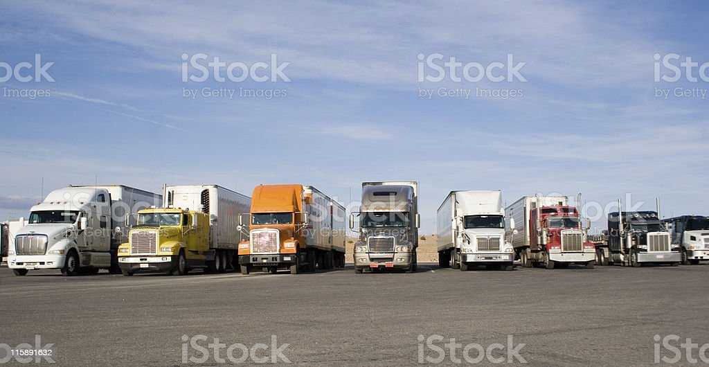 rigs in a row stock photo
