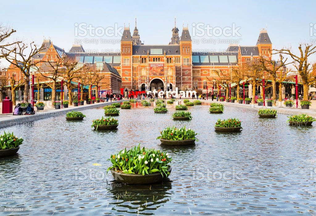 Rijksmuseum and people in front of writing, I amsterdam, Museumplein, Holland stock photo
