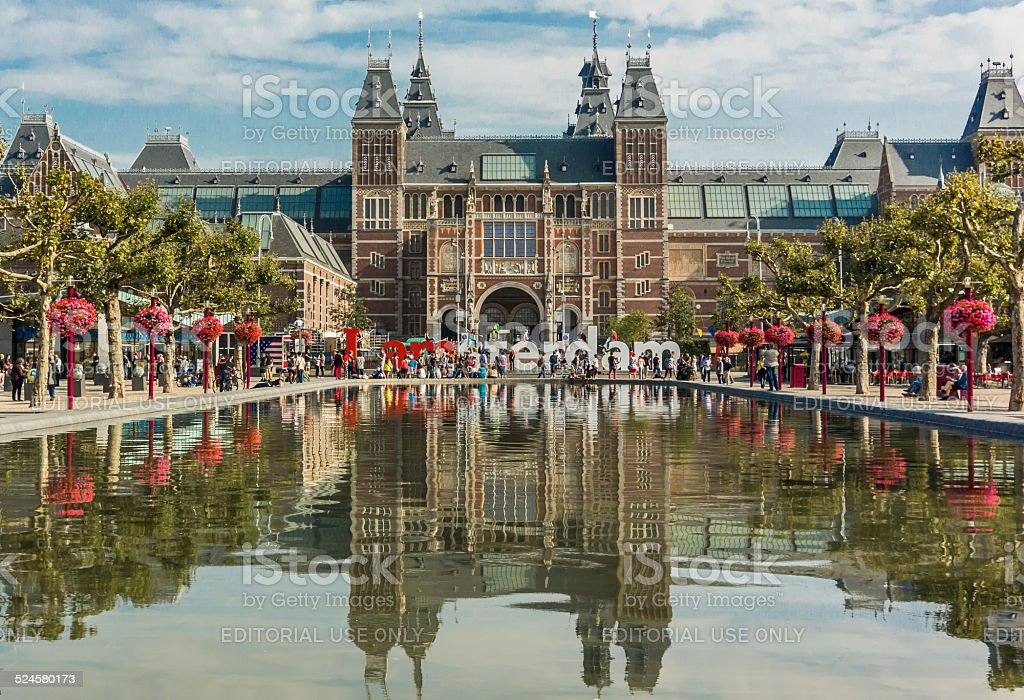 Rijksmuseum and reflecting pool stock photo