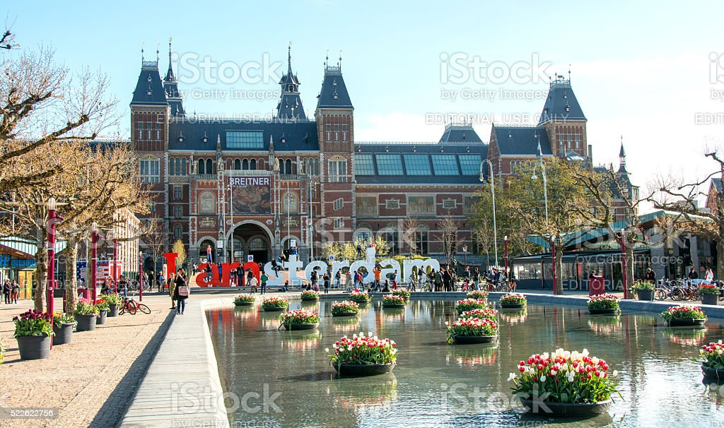 Rijksmuseum entrance and tulips  in spring stock photo
