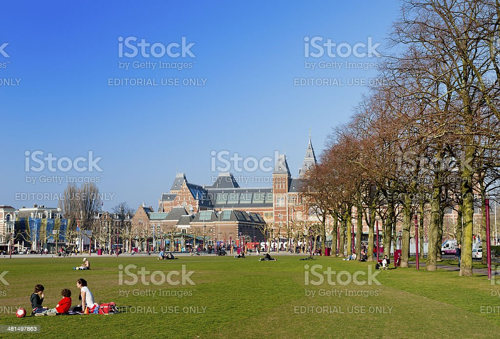 Rijksmuseum seen from Museumplein in Amsterdam royalty-free stock photo