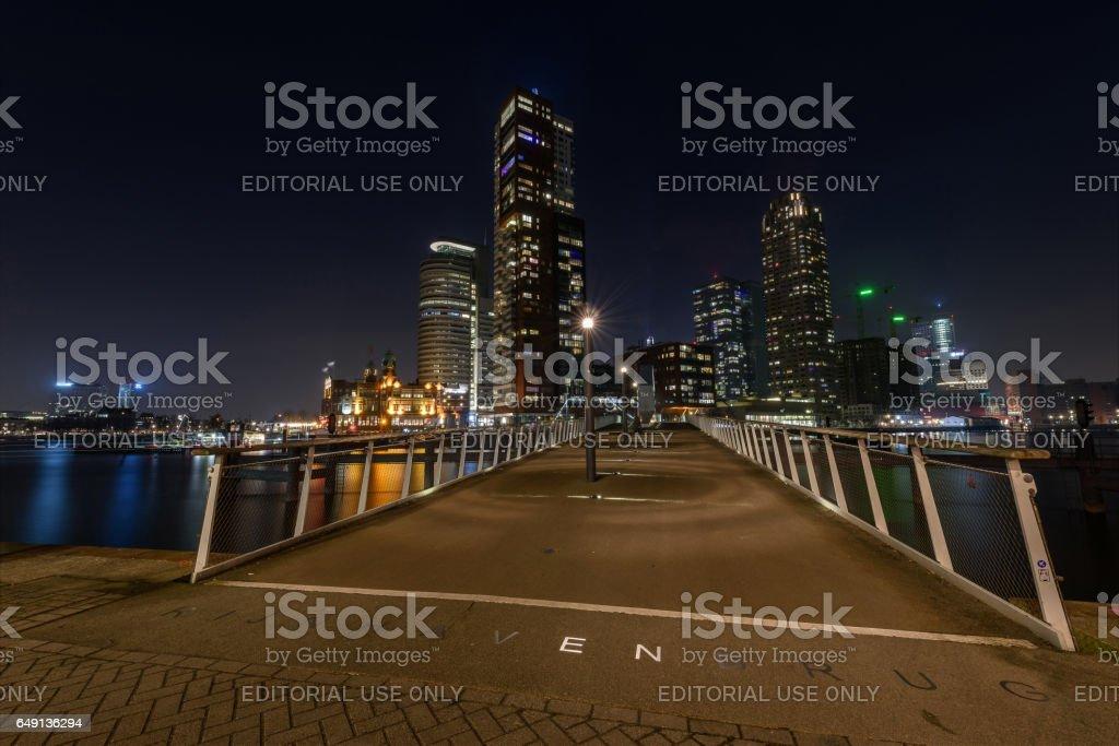 Rijnhaven Bridge by night stock photo