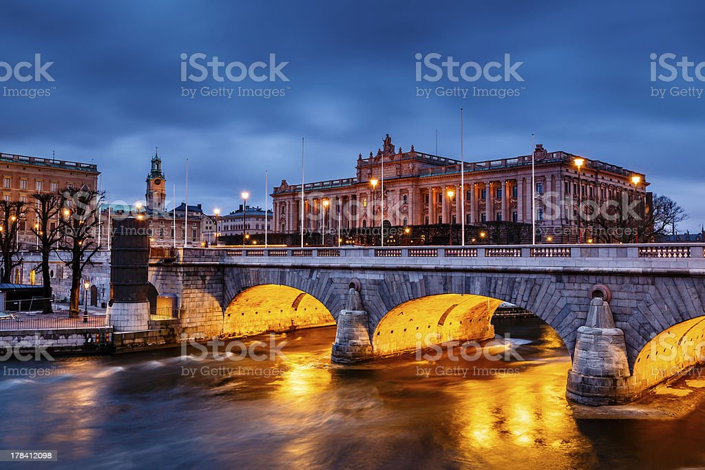 Riksdag Building and Norrbro Bridge in the Evening, Stockholm stock photo