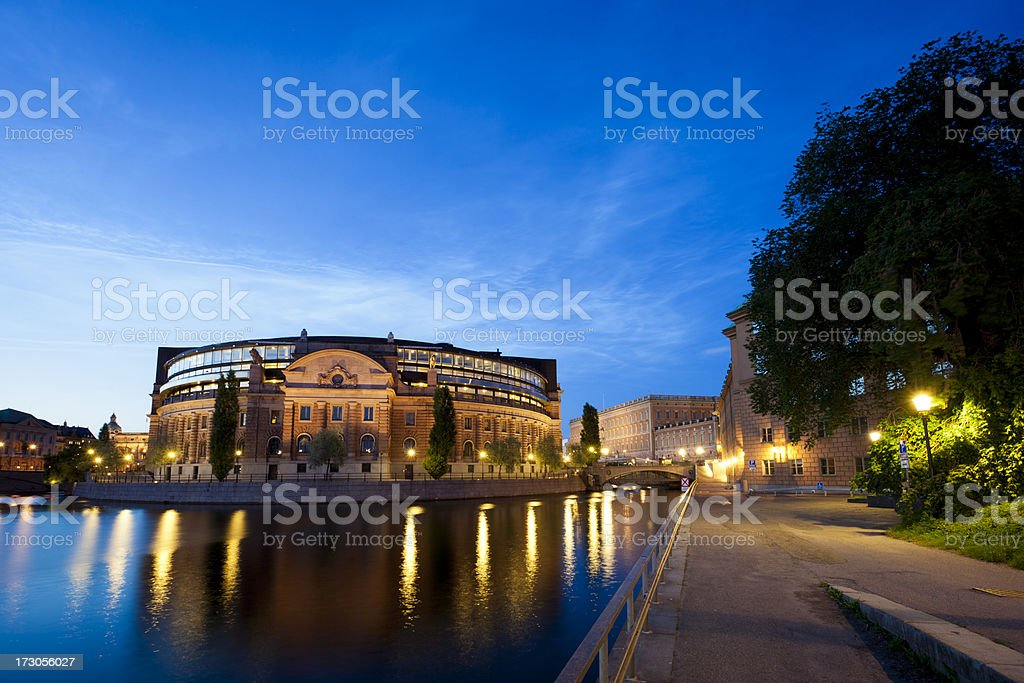 Riksdag or Parliament building Stockholm, Sweden stock photo