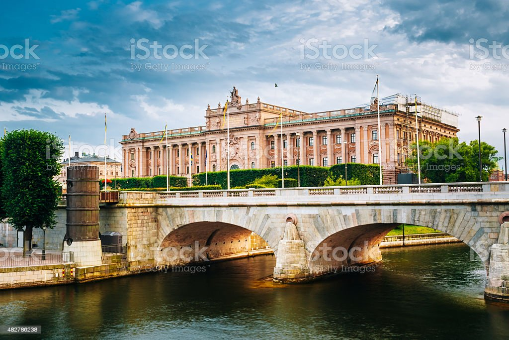 Riksdag Parliament Building, Stockholm, Sweden. stock photo