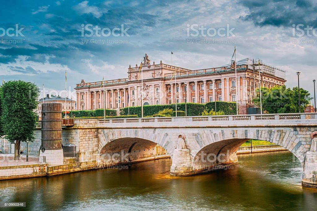Riksdag Parliament Building, Stockholm, Sweden. stock photo