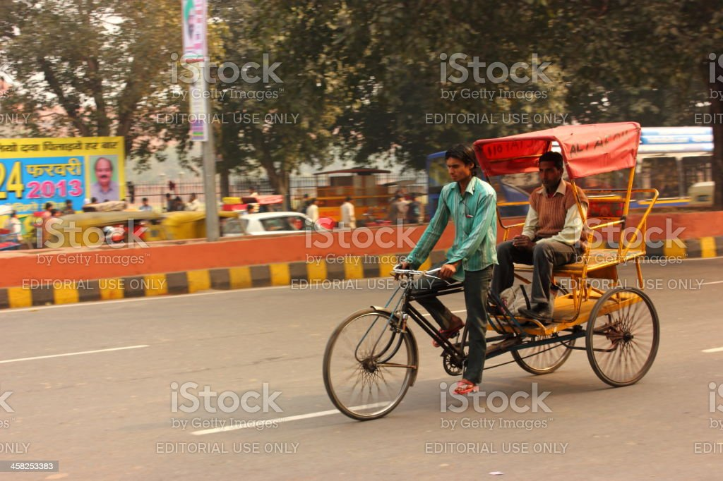 Rikshaw ride in Old Delhi, India royalty-free stock photo