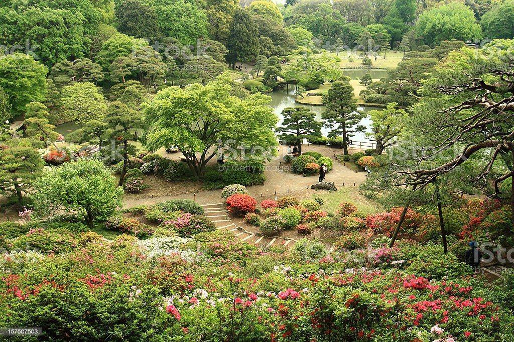 Rikugien japanese garden stock photo