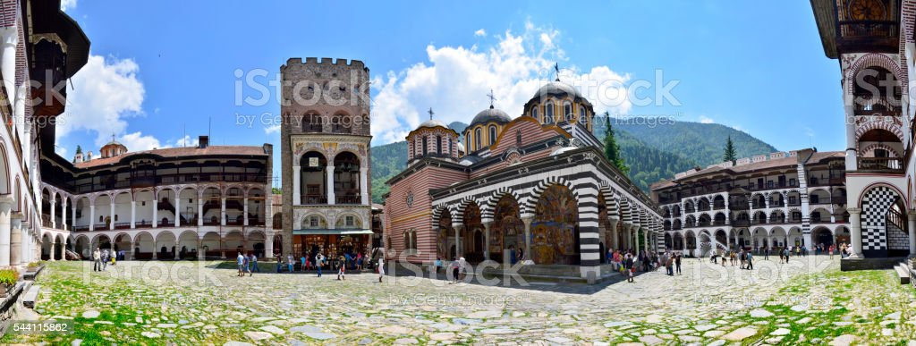 Rila monastery complex in Bulgaria stock photo