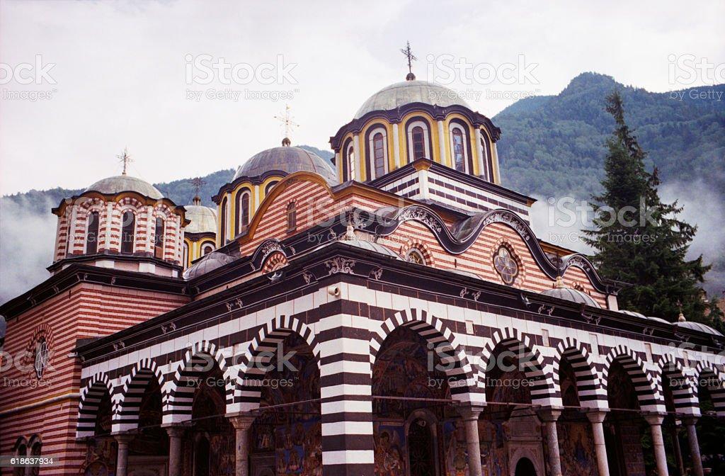 Rila Monastery in the Rila Mountains. Bulgaria stock photo