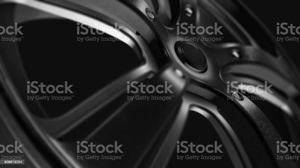 Rim Black Metal Grunge Close-up 3D Rendering stock photo